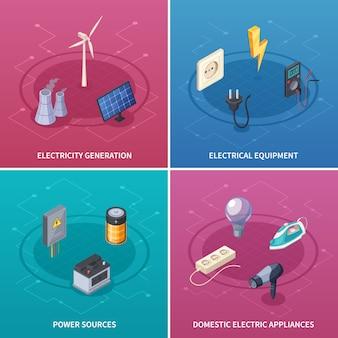 Los iconos del concepto de la electricidad fijaron con el ejemplo aislado isométrico del vector de los símbolos del equipo eléctrico