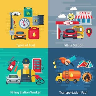 Iconos de concepto de estación de combustible con símbolos de trabajadores y automóviles