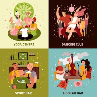 Iconos de concepto de fiesta de club con símbolos de barra de deporte plano aislado