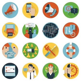 Iconos de concepto de foros de internet establecidos planos