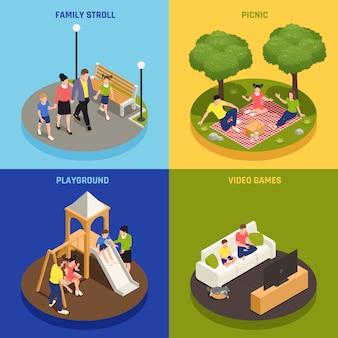Iconos de concepto de juego familiar con símbolos de picnic y videojuegos isométricos aislados