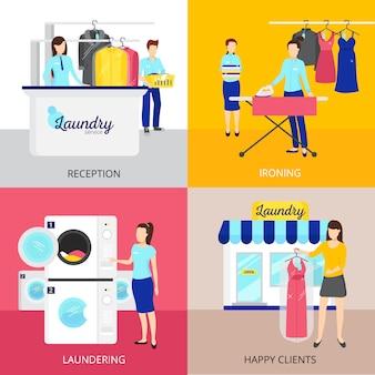 Iconos de concepto de lavandería con símbolos de hierro y recepción