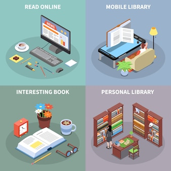 Iconos de concepto de lectura y biblioteca con símbolos de biblioteca móvil isométrica aislado