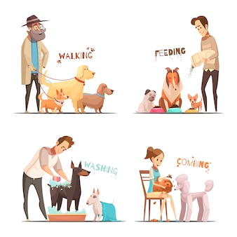 Los iconos del concepto del perro fijados con la historieta de los símbolos que caminan y que se lavan aislaron el ejemplo del vector