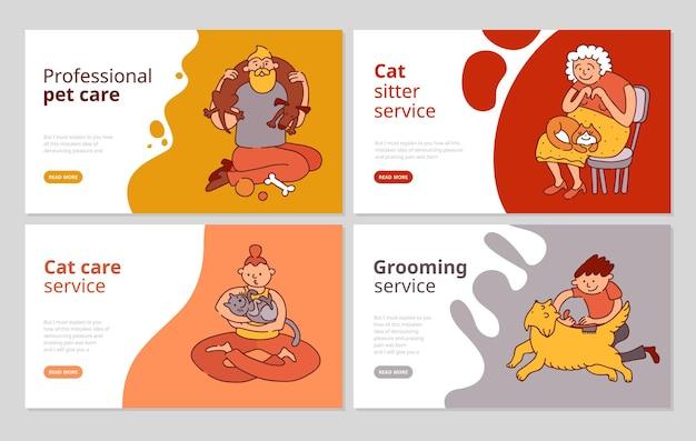 Iconos de concepto de personas y mascotas con símbolos de cuidado y aseo ilustración vectorial aislada plana