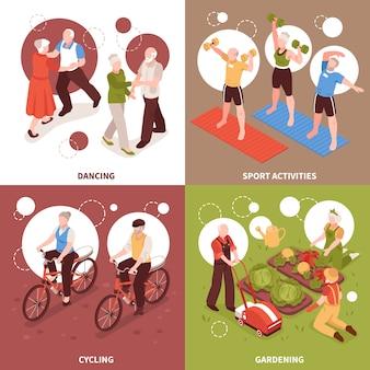 Iconos de concepto de personas mayores con estilo de vida activo y hobbies símbolos isométricos aislados