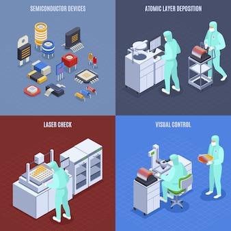 Iconos de concepto de producción de semiconductores con símbolos de verificación láser isométricos aislados