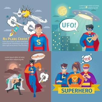 Iconos de concepto de superhéroe establecen con símbolos de accidente aéreo y robo