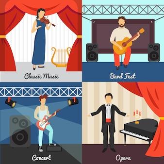 Iconos de concepto de teatro con bard fest y símbolos de ópera
