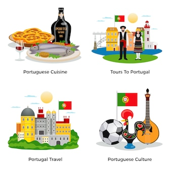 Iconos de concepto de turismo de portugal con cocina y cultura símbolos plano aislado