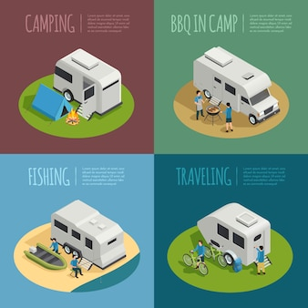 Iconos de concepto de vehículos recreativos con símbolos de camping