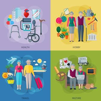 Iconos de concepto de vida de jubilados con símbolos de pasatiempo y viaje de afición de salud