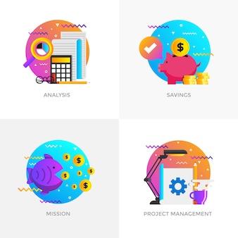 Iconos de conceptos diseñados en color plano moderno para análisis