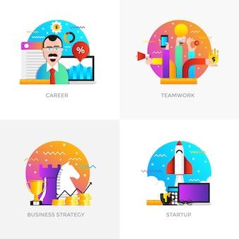 Iconos de conceptos diseñados en color plano moderno para carrera