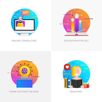 Iconos de conceptos diseñados en color plano moderno para consultoría en línea