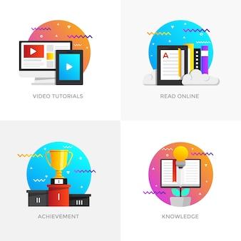 Iconos de conceptos diseñados en colores planos modernos para tutoriales en vídeo