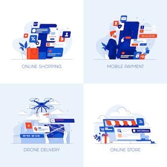 Iconos conceptuales planas