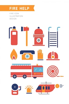 Iconos conceptuales del vector de la ayuda del fuego fijados.