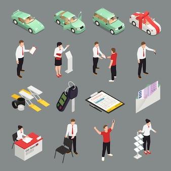 Iconos de concesionario de automóviles con símbolos de venta de coches isométricos aislados