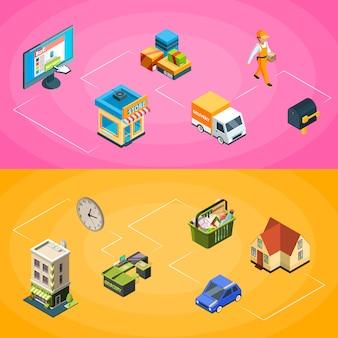Iconos conectados isométricos de compras en línea