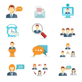 Iconos de conferencias web, de comunicación y de negocios en línea en estilo plano