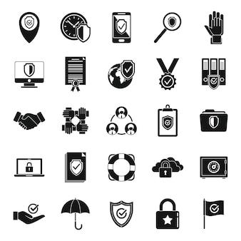 Iconos de confiabilidad del cliente establecen vector simple. principios sociales. trabajador de confianza