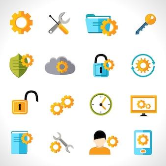 Iconos de configuración planos