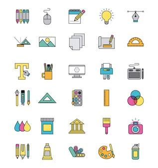 Iconos conjunto creatividad dibujar