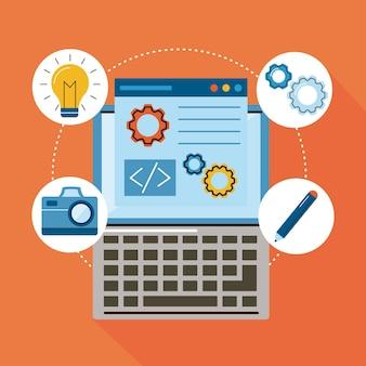 Iconos de conjunto de diseño web y portátil