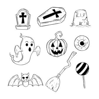 Iconos conjunto de halloween blanco y negro