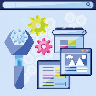 Iconos de conjunto de optimización de motor de búsqueda