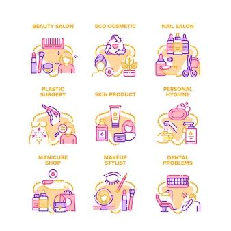 Iconos de conjunto de servicio de salón de belleza cosmética