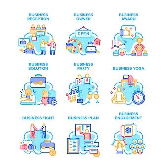 Iconos de conjunto de soluciones de negocios