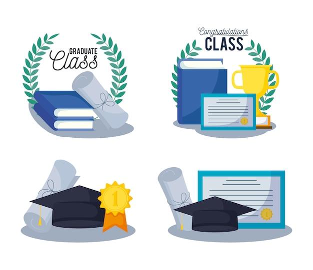 Iconos de conjunto de tarjeta de graduación clase
