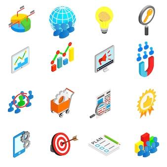 Iconos de conjunto de trabajo de oficina