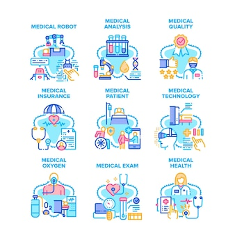 Iconos de conjunto de tratamiento médico