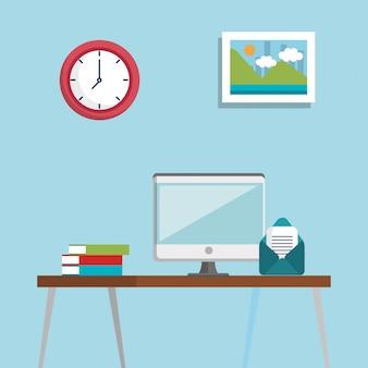 Iconos de conjunto de ubicación de lugar de trabajo