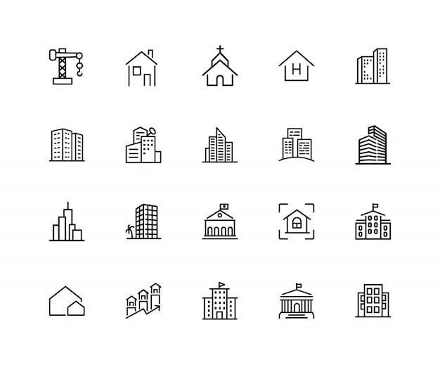 Iconos de construcción. conjunto de iconos de veinte líneas. iglesia, garaje, hospital.