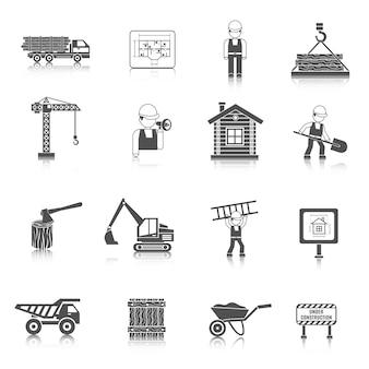 Iconos de construcción negro
