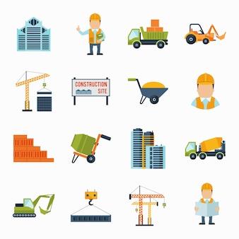 Iconos de construcción planos