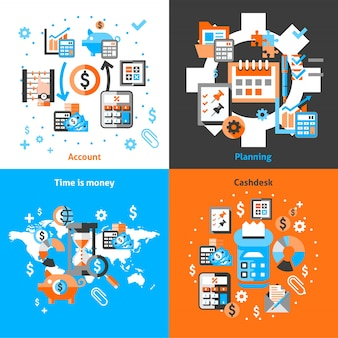 Iconos de contabilidad establecidos planos