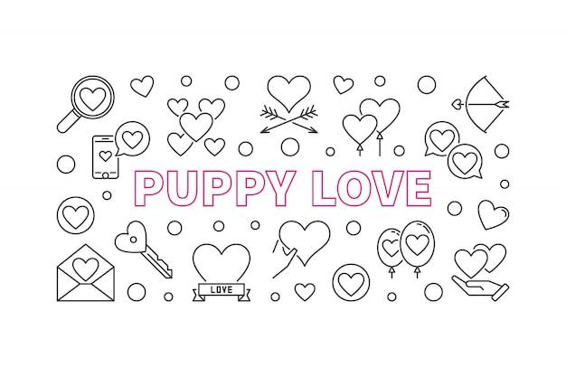 Iconos de contorno de amor de cachorro