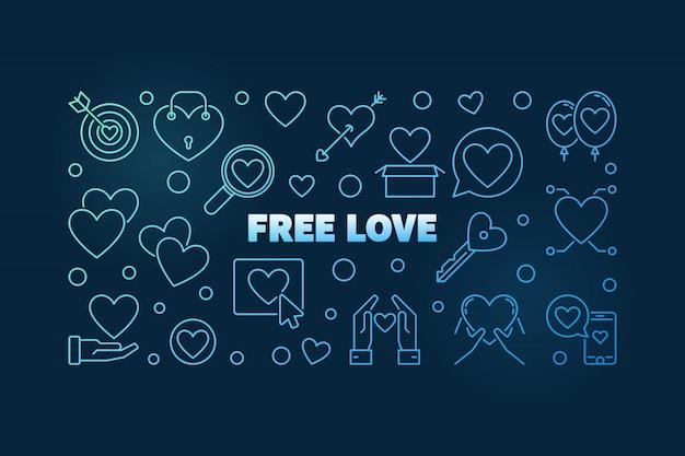 Iconos de contorno azul de amor gratis