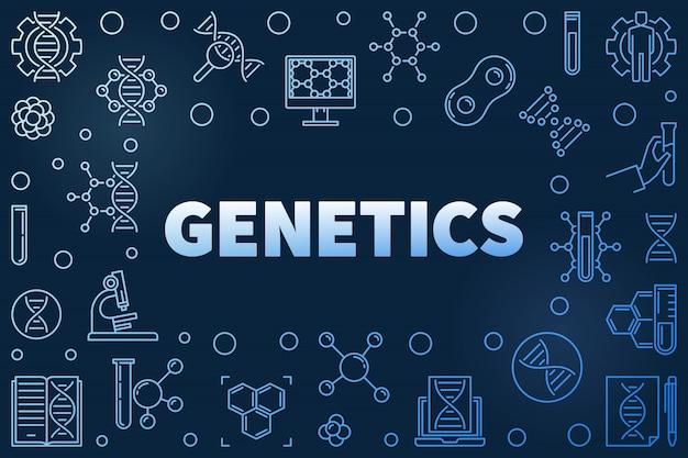 Iconos de contorno azul de genética