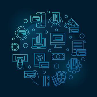 Iconos de contorno azul de pagos de dinero