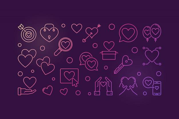 Iconos de contorno de color de adicción al amor