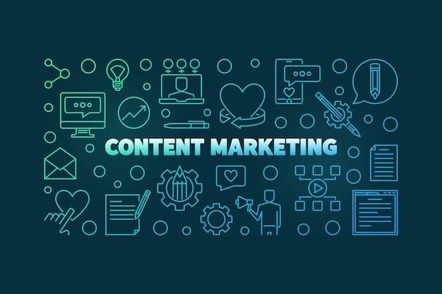 Iconos de contorno coloreado de concepto de marketing de contenido