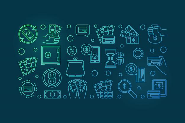 Iconos de contorno colorido dinero