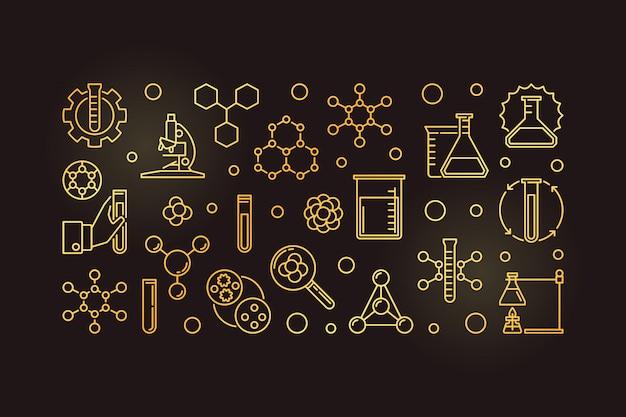 Iconos de contorno dorado de química