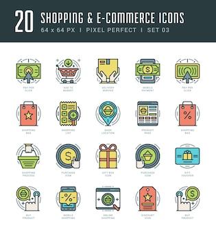 Los iconos de contorno establecen símbolos gráficos modernos conceptos comerciales y de compras